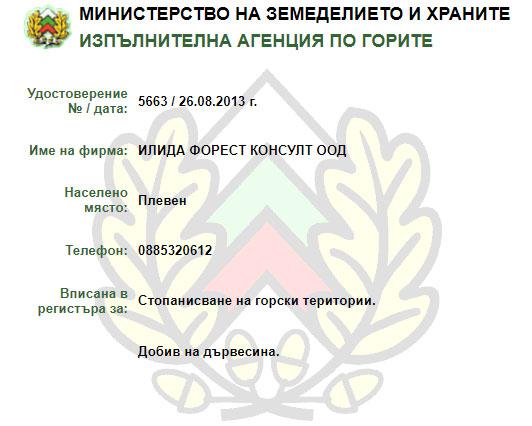 Илида Форест Консулт - лиценз